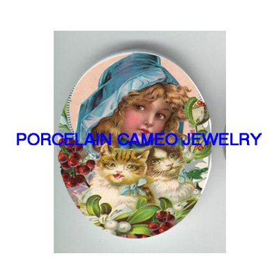VICTORIAN CHRISTMAS BLUE HOOD GIRL KITTY CAT HOLY BERRY * UNSET PORCELAIN CAMEO CAB