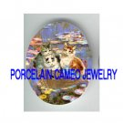 VICTORIAN KITTY CAT ROSE BOAT MONET WATER LILY POND* UNSET PORCELAIN CAMEO CAB