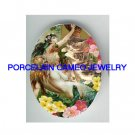 VICTORIAN MERMAID PLAY WITH KITTY CAT * UNSET PORCELAIN CAMEO CAB