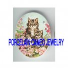 VICTORIAN KITTY CAT MOM CUDDLING BABY PINK FLOWER* UNSET PORCELAIN CAMEO CAB
