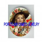 VICTORIAN POPPY GIRL KITTY CAT BASKET * UNSET PORCELAIN CAMEO CAB