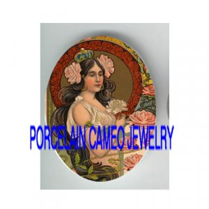 ART NOUVEAU CROWN ROSE PRINCESS* UNSET PORCELAIN CAMEO CAB