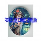ART DECO FLAPPER LADY WITH LANTERN* UNSET PORCELAIN CAMEO CAB