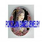 ART DECO FLAPPER LADY WITH IRIS* UNSET PORCELAIN CAMEO CAB