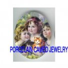 3 VICTORIAN SISTERS FRIENDS GIRL KITTY CAT RABBIT  * UNSET PORCELAIN CAMEO CAB