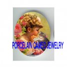 VICTORIAN GIRL PRAYING KITTY CAT ROSE* UNSET PORCELAIN CAMEO CAB