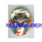 VICTORIAN CAT GIRL POPPY FLOWER* UNSET PORCELAIN CAMEO CAB