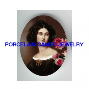 VICTORIAN SWEET LADY WITH ROSE* UNSET PORCELAIN CAMEO CAB