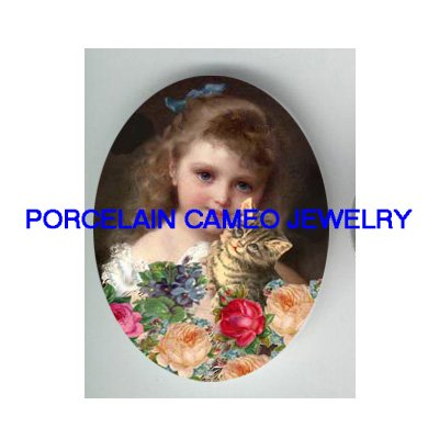 VICTORIAN GIRL KISSING KITTY CAT VIOLET ROSE* UNSET PORCELAIN CAMEO CAB