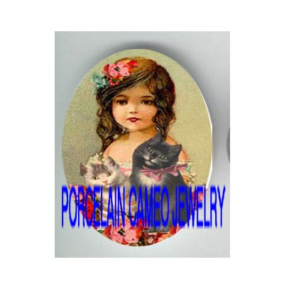 VICTORIAN POPPY GIRL 2 KITTY CAT * UNSET PORCELAIN CAMEO CAB