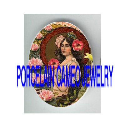 ART NOUVEAU CROWN POPPY PRINCESS WATER LILY  * UNSET PORCELAIN CAMEO CAB