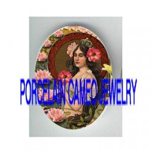 ART NOUVEAU CROWN POPPY PRINCESS WATER LILY  * UNSET PORCELAIN CAMEO CAB