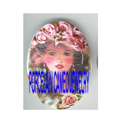 VICTORIAN SWEET ROSE HAT LADY* UNSET PORCELAIN CAMEO CAB