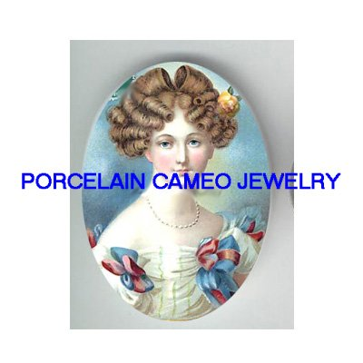 VICTORIAN FRENCH ROYAL LADY WITH RIBBON* UNSET PORCELAIN CAMEO CAB