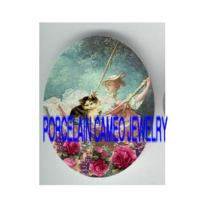 VICTORIAN FRENCHLADY SWING WITH KITTY CAT ROSE * UNSET PORCELAIN CAMEO CAB
