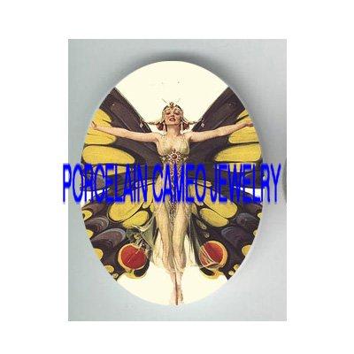 ART DECO NOUVEAU BUTTERFLY LADY* UNSET PORCELAIN CAMEO CAB