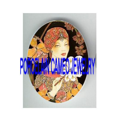 ART DECO FLAPPER LADY ORCHID FAN* UNSET PORCELAIN CAMEO CAB