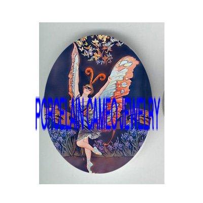 ART DECO NOUVEAU BUTTERFLY BALLERINA PORCELAIN CAMEO CAB