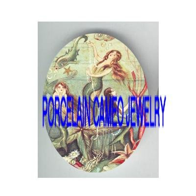 VICTORIAN 3 SISTERS MERMAID CORAL FISH  * UNSET PORCELAIN CAMEO CAB