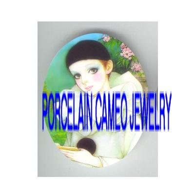 FRENCH  SWEET PIERROT WITH PINK FLOWER   * UNSET PORCELAIN CAMEO CAB