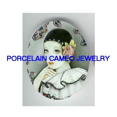 FRENCH  PIERROT WITH ROSE FLOWER   * UNSET PORCELAIN CAMEO CAB