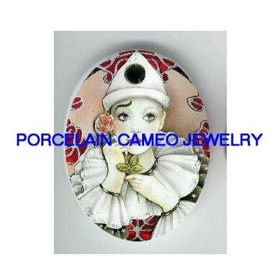 FRENCH  PIERROT WITH HOLDING ROSE FLOWER   * UNSET PORCELAIN CAMEO CAB
