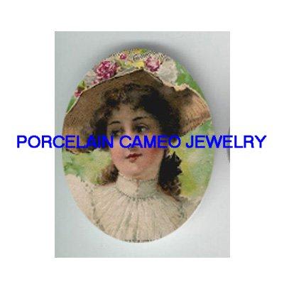 VINTAGE VICTORIAN ROSE FLOWER HAT LADY * UNSET PORCELAIN CAMEO CAB