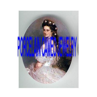 VICTORIAN ROYAL PRINCESS WITH POPPY * UNSET PORCELAIN CAMEO CAB