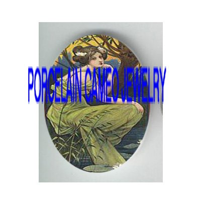 ART NOUVEAU LADY WITH WATER LILY* UNSET PORCELAIN CAMEO CAB