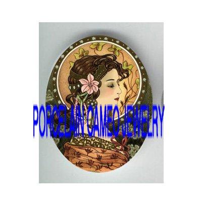 ART NOUVEAU LADY WITH IRIS LILY* UNSET PORCELAIN CAMEO CAB