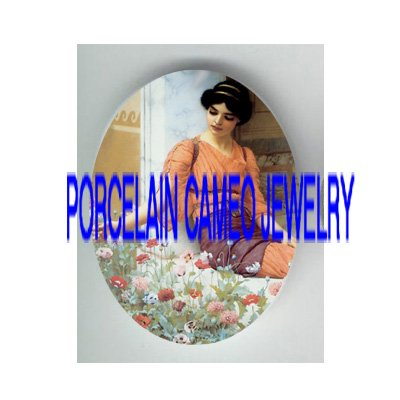 JOHN WATERHOUSE LADY COLORFUL POPPY * UNSET PORCELAIN CAMEO CAB
