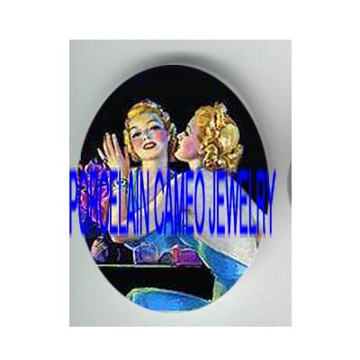 VINTAGE GLAMOUR FLAPPER LADY LOOK INTO THE MIRROR* UNSET PORCELAIN CAMEO CAB