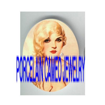 VINTAGE BLONDE SEXY GLAMOUR FLAPPER LADY * UNSET PORCELAIN CAMEO CAB