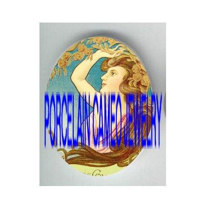 ART NOUVEAU DECO ROSE LADY * UNSET PORCELAIN CAMEO CAB