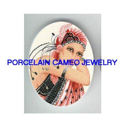 ART NOUVEAU DECO PINK FEATHER LADY * UNSET PORCELAIN CAMEO CAB