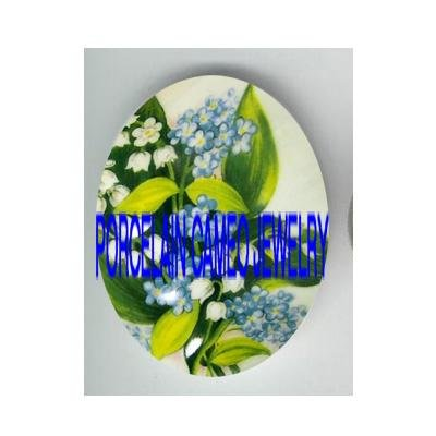 VICTORIAN LILY OF THE VALLEY FORGET ME NOT   * UNSET PORCELAIN CAMEO CAB