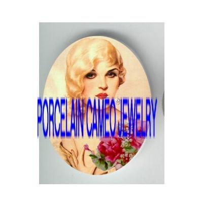 VINTAGE GLAMOUR FLAPPER BLONDE LADY ROSE PORCELAIN CAMEO CAB