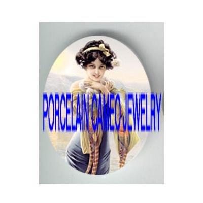 ART NOUVEAU GLAMOUR FLAPPER LADY ROSE * UNSET PORCELAIN CAMEO CAB