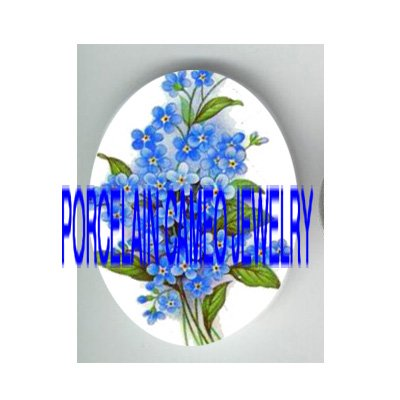 FORGET ME NOT FLOWER  * UNSET PORCELAIN CAMEO CAB
