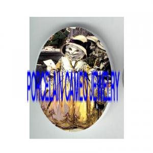 VICTORIAN YELLOW DRESS KITTY CAT LOVE LETTER * UNSET PORCELAIN CAMEO CAB