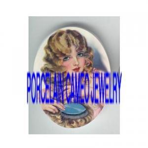 VINTAGE GLAMOUR FLAPPER BLONDE LADY BRUSH HAIR * UNSET PORCELAIN CAMEO CAB