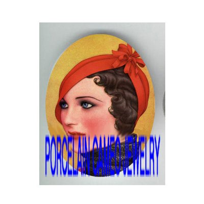 ART DECO GLAMOUR GIRL RED HAT   * UNSET PORCELAIN CAMEO CAB