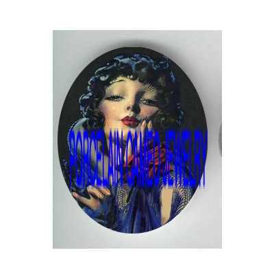 ART DECO GLAMOUR BLUE VIOLET LADY RED ROSE   * UNSET PORCELAIN CAMEO CAB