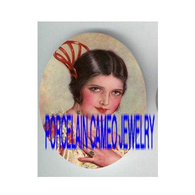 ART DECO GLAMOUR LADY ROSE DRESS   * UNSET PORCELAIN CAMEO CAB
