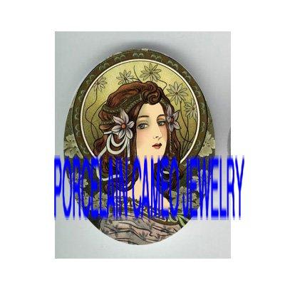 ART DECO NOUVEAU ORCHID LADY    * UNSET PORCELAIN CAMEO CAB