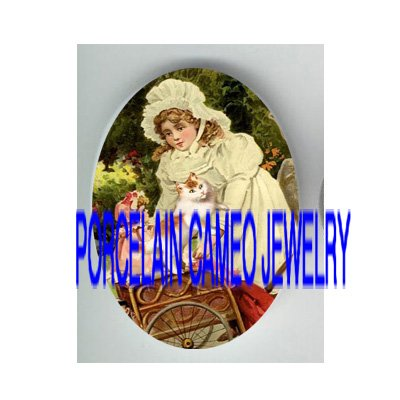 VICTORIAN GIRL WITH DOLL STROLLER KITTY CAT * UNSET PORCELAIN CAMEO CAB