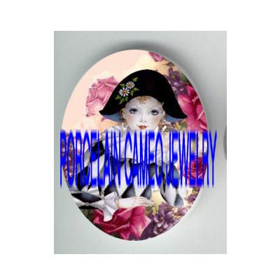 FRENCH PIERROT WITH VIOLET AND ROSE * UNSET PORCELAIN CAMEO CAB