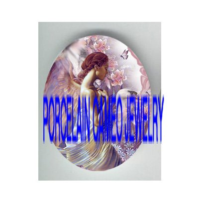 PINK ANGEL SWAN LILY BUTTERFLY* UNSET PORCELAIN CAMEO CAB