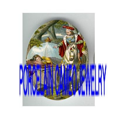 VICTORIAN SLEEPING BEAUTY PRINCE WARRIOR * UNSET PORCELAIN CAMEO CAB