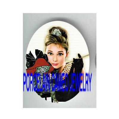 AUDREY HEPBURN SEXY RED HAT KITTY CAT* UNSET PORCELAIN CAMEO CAB